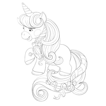 cute unicorn with a long mane, a contour drawing, a riskraca, an isolated object on a white background, vector illustration, 向量圖像