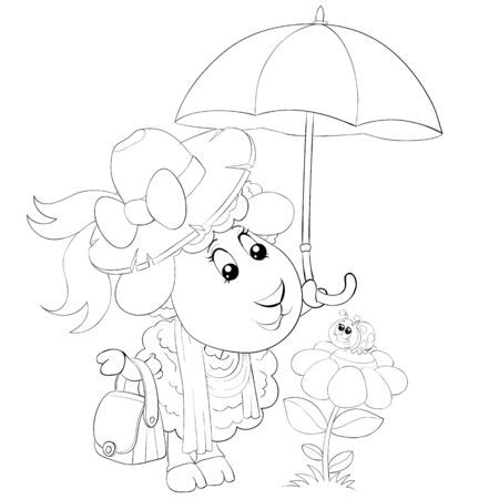 cute sheep in a hat and with an umbrella looks at a bug that sits on a flower, drawing in outline, coloring, isolated object on a white background, vector illustration, Foto de archivo - 143105512