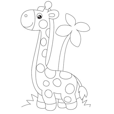 giraffe in cartoon style stands on a palm tree background, outline drawing, coloring, isolated object on a white background, vector illustration,