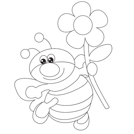 a bee carries a flower in his hand, a contour drawing, a coloring book, isolated object on a white background, vector illustration, Foto de archivo - 143107246