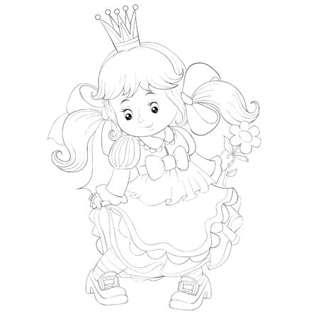 little cute princess with a flower in her hand and with a crown on her head, outline drawing, isolated object on a white background, coloring book, vector illustration, Foto de archivo - 143294633