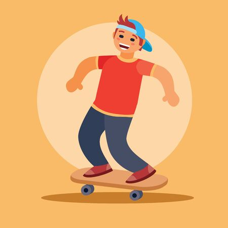 boy in a red T-shirt and blue cap rides a skateboard on a yellow background, vector illustration 矢量图像