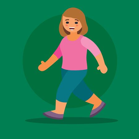 girl in a pink T-shirt walks on a green background, vector illustration