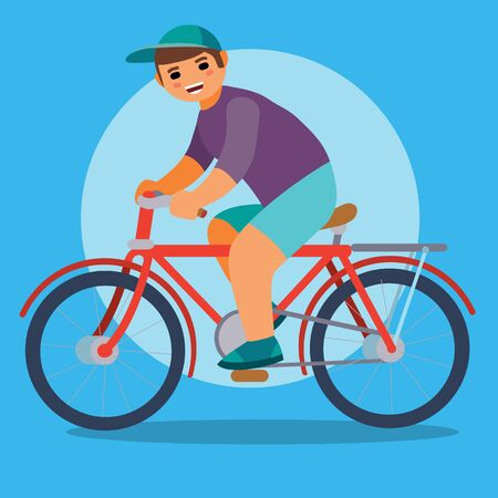 boy in a cap rides a bicycle on a blue background, profile, vector illustration, eps