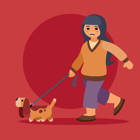 girl in a sweater walking with a dog with long ears on a red background, vector illustration,