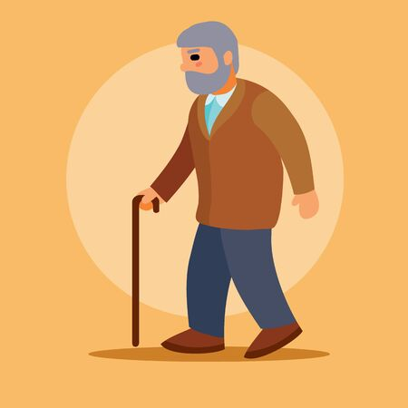 grandfather with a crutch and a beard goes to the doctor or pharmacy, vector illustration, Ilustração
