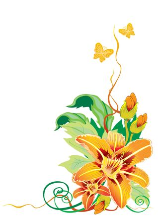 yellow decorative lily, decorative element, isolated object on a white background, vector illustration, eps