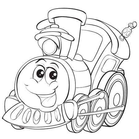 train character with big eyes, cute, cartoon, outline drawing, isolated object on white background, vector illustration
