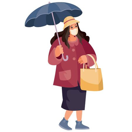 woman with a big bag and an umbrella in her hands, she is wearing a protective mask, isolated object on a white background, vector illustration 일러스트
