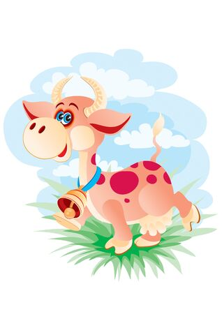 cow character with a big bell on his neck, walks in the meadow, vector illustration,