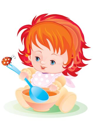 a child eats from a plate with a large spoon, a ladybug sits on a spoon, vector illustration,
