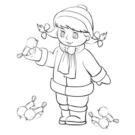 girl in winter feeds birds on the street, outline drawing, isolated object on a white background, vector illustration, eps