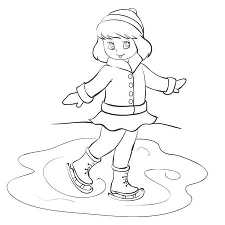 girl in winter clothes skates on a pond, drawing in outline, isolated object on a white background, vector illustration