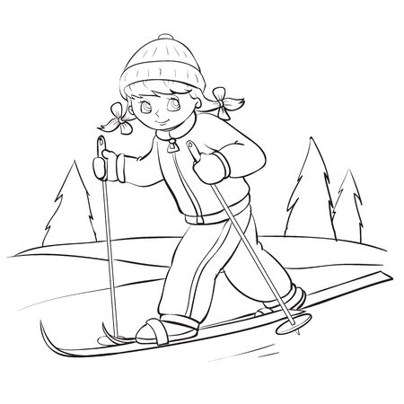 girl in winter clothes is skiing in the forest, outline drawing, isolated object on a white background, vector illustration,