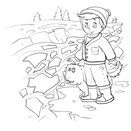 boy with his dog stands on the riverbank and looks at the ice drift in spring, outline drawing, isolated object on a white background, vector illustration, Illustration