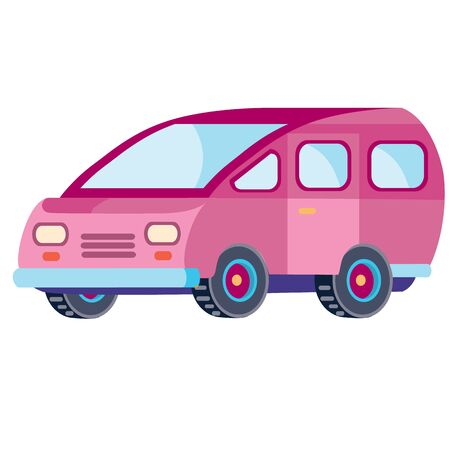 minivan in pink color in flat style, isolated object on a white background, vector illustration,