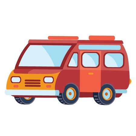 minibus in red color in flat style, isolated object on a white background, vector illustration,