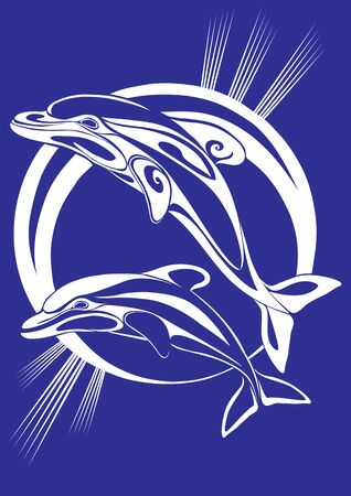 two stylized dolphins jump up on the background of the stylized sun, blue color, vector illustration, eps 向量圖像