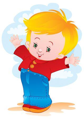 赤いシャツを着た小さな子供は、腕を側面に広げて立ち、白い背景に喜び、孤立した物体、ベクトルイラストを表現します