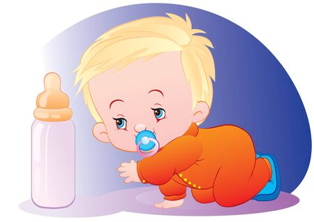 baby crawls on the floor and reaches with his hand to the milk bottle, vector illustration, eps
