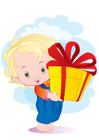 little curly boy with golden hair holds a big box with a gift in his hands, vector illustration,