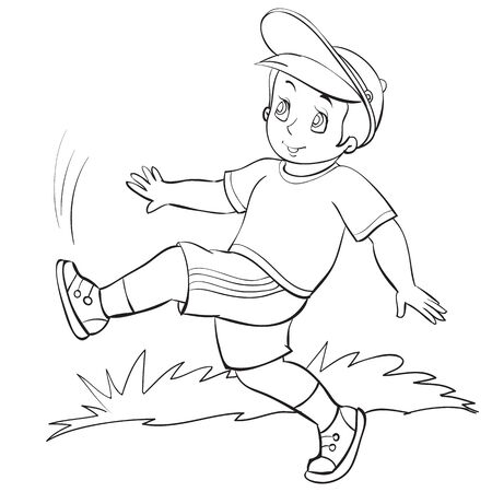 boy in a cap in the summer walks on the street, outline drawing, coloring, isolated object on a white background, vector illustration, eps