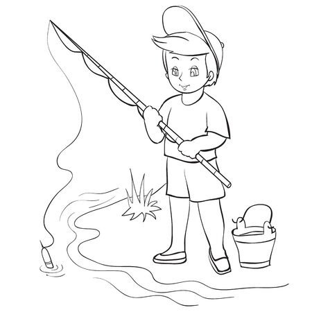 a boy stands on the riverbank with a bucket and holds a fishing rod in his hands, he catches a fish, outline drawing, coloring, isolated object on a white background, vector illustration
