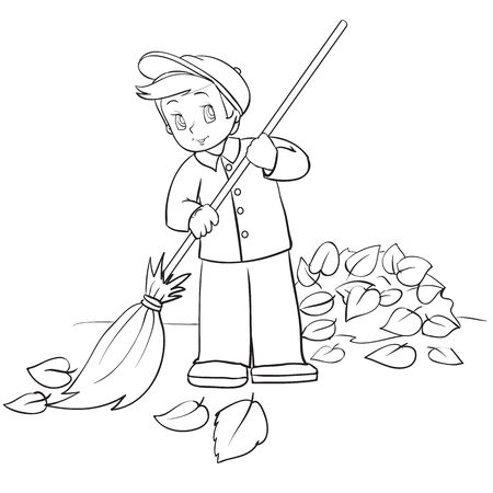 boy in autumn sweeps a big broom with fallen leaves on the street, janitor, outline drawing, coloring, isolated object on a white background, vector illustration