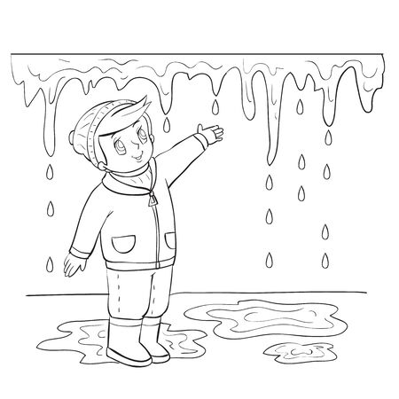 spring boy tries to reach the icicle that melts in the sun, outline drawing, coloring, isolated object on a white background, vector illustration