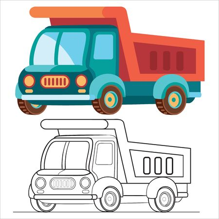 flat and blue lorry in flat style, isolated object on white background, vector illustration,