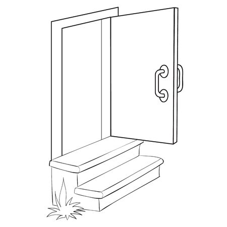 porch with two steps and an open door, coloring, isolated object on a white background, vector illustration, eps Ilustração