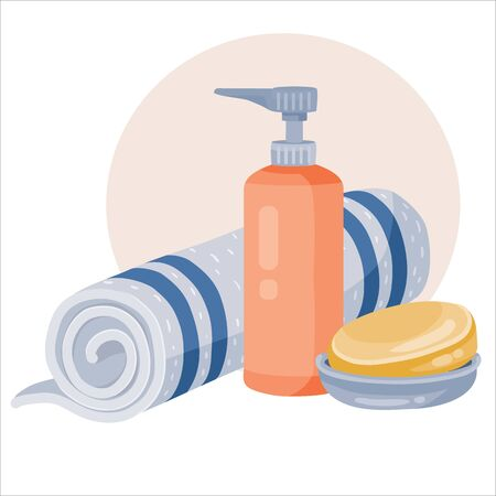 set of twisted towel, bar of soap and a bottle of liquid soap or shampoo, vector illustration, eps