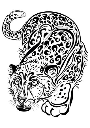 stylized leopard sneaks in black, isolated object on a white background, vector illustration Ilustração
