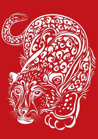 stylized leopard in white on a red background sneaking, isolated object on a white background, vector illustration Ilustração