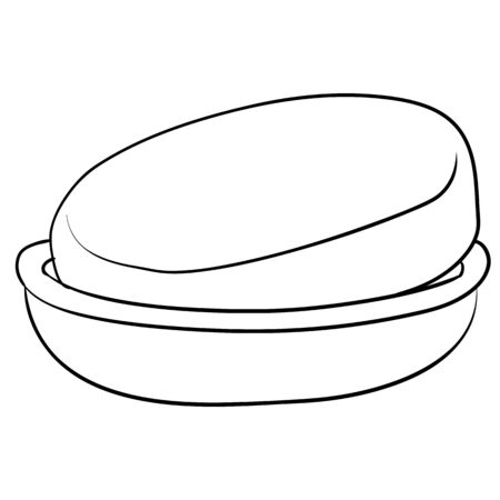 a piece of soap lies in a soap dish, a figure in the outline, an isolated object on a white background, vector illustration