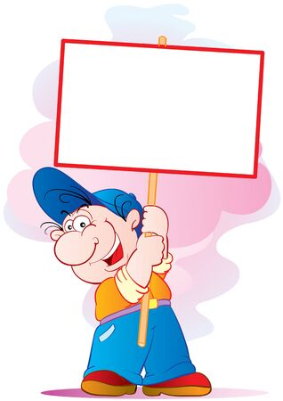 man in a blue cap holds in his hands a blank poster, cartoon, isolated object on a white background, vector illustration Ilustrace
