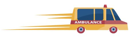 ambulance in orange hurries to a call leaving behind itself traces of speed, isolated object on a white background, vector illustration,