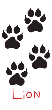 set of black lion tracks, icon, isolated object on a white background, vector illustration,