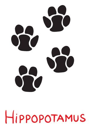 set of black footprints of a hippopotamus, icon, isolated object on a white background, vector illustration,