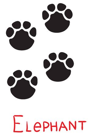 set of black footprints of an elephant, icon, isolated object on a white background, vector illustration,