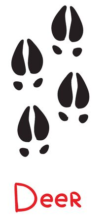 set of black deer footprints, icon, isolated object on white background, vector illustration,