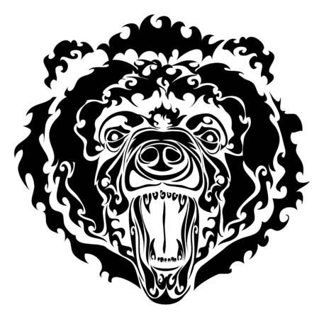 big evil bear head on a white background in black style, isolated object on a white background, vector illustration