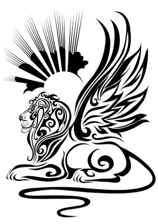 stylized sphinx with raised wings in profile against the sun, isolated object on a white background, vector illustration