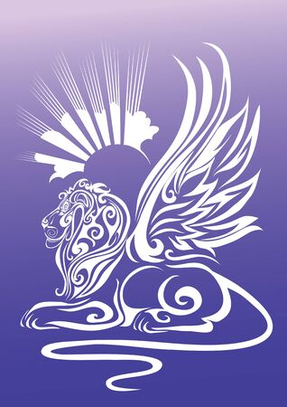stylized sphinx with raised wings in profile on a background of the sun, isolated object on a blue background, vector illustration