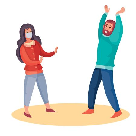 a masked woman in fear shields herself from a man who is dressed to meet her without a mask, virus, self-isolation, isolated object on a white background, vector illustration,