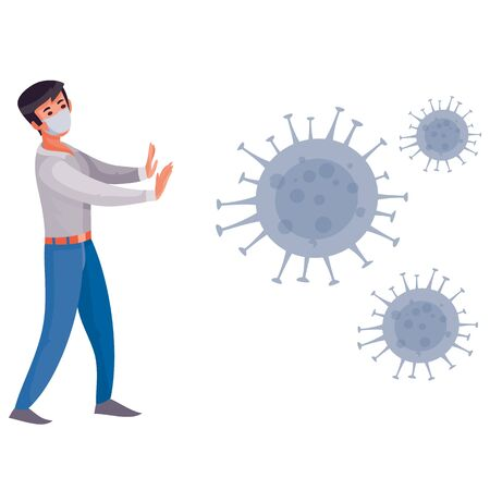 masked man fenced off from the virus that flies around her, isolated object on a white background, vector illustration