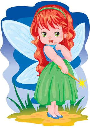 cute fairy with wings, in a green dress with red hair, with a wand, vector illustration 矢量图像