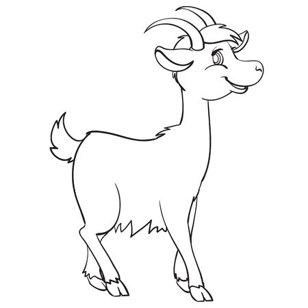 goat painted in outline, coloring, isolated object on a white background, farm, vector illustration, Illustration
