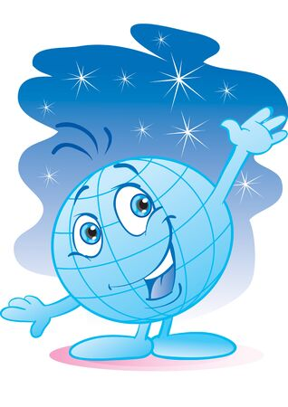blue globe character welcomes with a wave of his hand, vector illustration Ilustração
