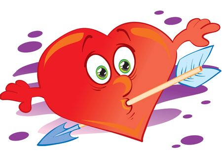 red heart character caught an arrow with his mouth and she went through it, isolated object on a white background, vector illustration